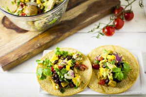 Fellowship of the Vegetable Beyond Meat Taco Peach Avocado Salsa