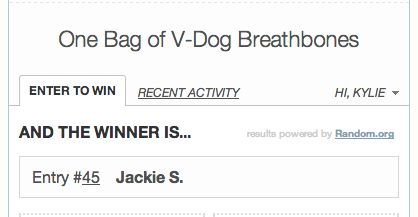 Fellowship of the Vegetable V-Dog Breathbone Giveaway Winner