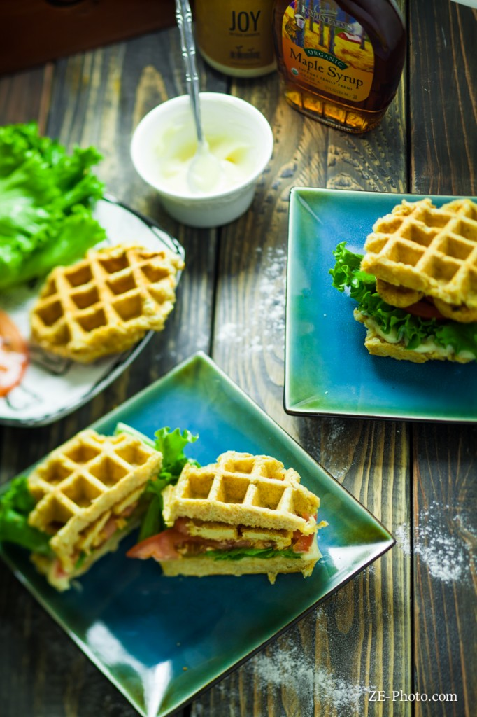 Fellowship of the Vegetable Chicken & Waffle Sandwich 4