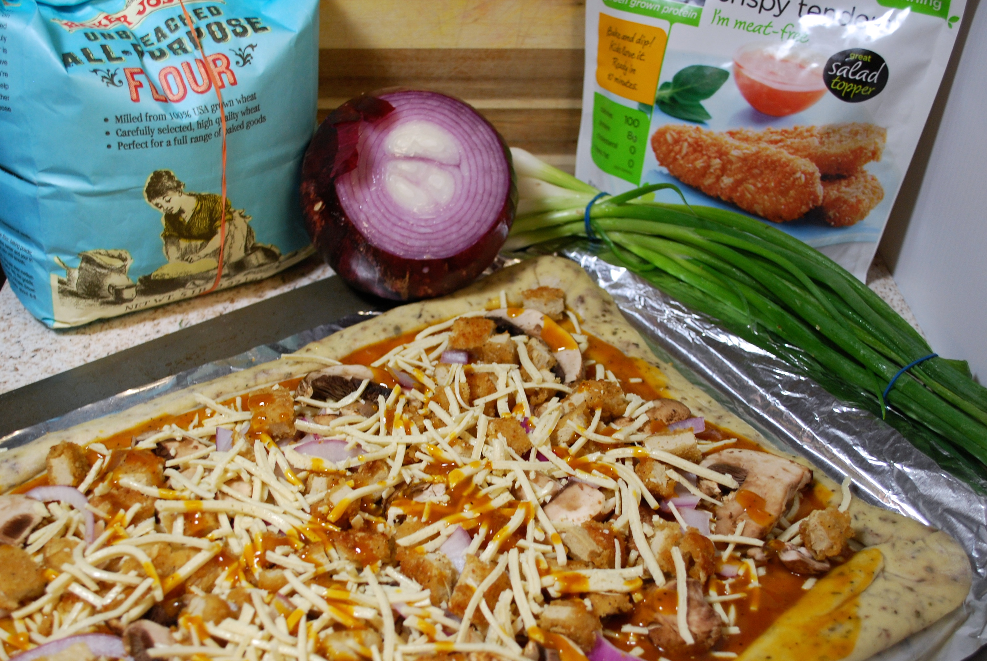 Fellowship of the Vegetable Vegan BBQ Chicken Pizza 2